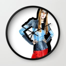 Fashion #16. Long-haired girl in fashionable dress-transformer Wall Clock