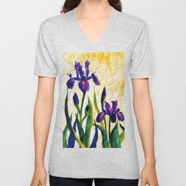 Watercolor Wild Iris on Wrinkled Paper Unisex V-Neck