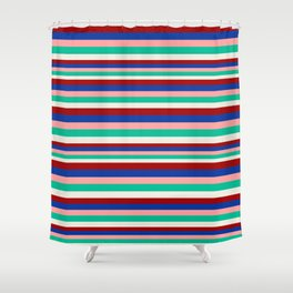 Colored Stripes - Dark Red Blue Rose Teal Cream Shower Curtain