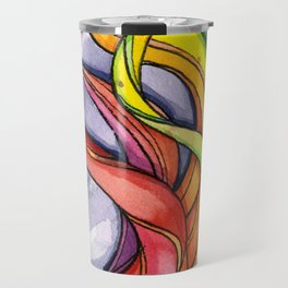 Rainbow Swirls Watercolor Curls Travel Mug