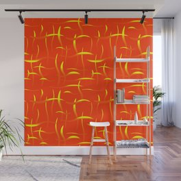 Bright yellow algae with lens flare on an orange background. Wall Mural