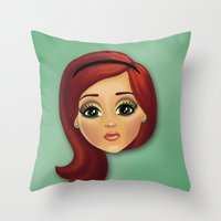 redhead Throw Pillows featuring Redhead by Lindella