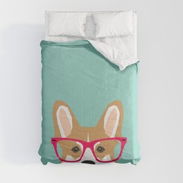 Teagan Glasses Corgi cute puppy welsh corgi gifts for dog lovers and pet owners love corgi puppies Comforters