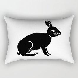 Black and white linocut rabbit drawing inked minimal art animal spirit animals Rectangular Pillow