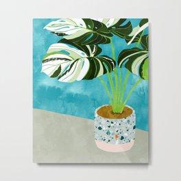 Variegated Monstera #tropical #painting #nature Metal Print