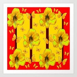"""FOR THE LOVE OF BUTTERFLIES"" RED-YELLOW ART Art Print"