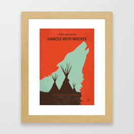 No949 My Dances with Wolves minimal movie poster Framed Art Print