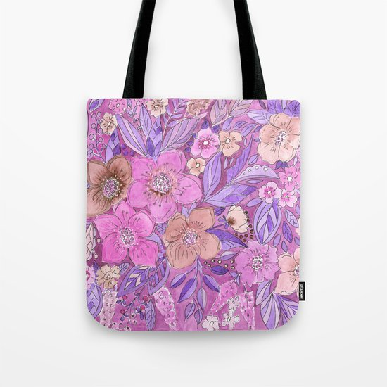 Watercolor . Pink flowers . Tote Bag