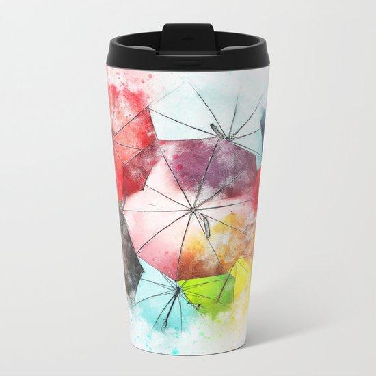 Umbrella Watercolor Metal Travel Mug