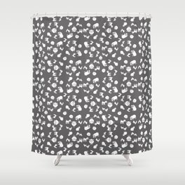 The Little Farm Animals, white on grey Shower Curtain
