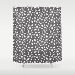 The Little Farm Animals, white on grey Shower Curtain