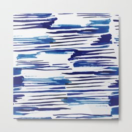 Shibori Paint Vivid Indigo Blue and White Metal Print