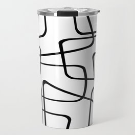Mid Century Black And White Pattern Travel Mug
