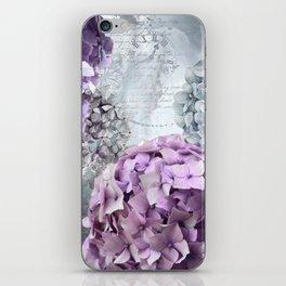 Purple Vintage Flower Hydrangea Hortensia Collage iPhone Skin