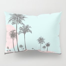 Beachfront palm tree soft pastel sunset graphic Pillow Sham