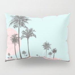 Beachfront palm tree soft pastel sunset graphic Pillow Sham