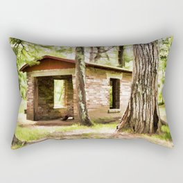 Abandoned brick building in the woods Rectangular Pillow