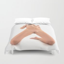 9573-HW Beautiful Woman Kneeling Openly With No Clothes On by Chris Maher Duvet Cover