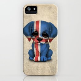 Cute Puppy Dog with flag of Iceland iPhone Case