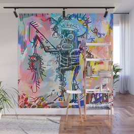 A digitally and roughly vectorised Jean Michel Basquiat Wall Mural