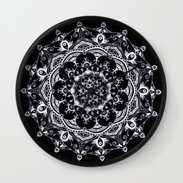Lucid Dream Glowing mandala with a hint of purple on black. Wall Clock
