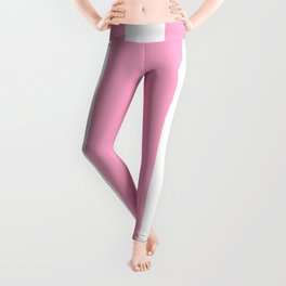 Pale Sweet Lilac and White Wide Vertical Cabana Tent Stripe Leggings
