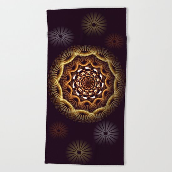 Golden curves and tribal patterns Beach Towel