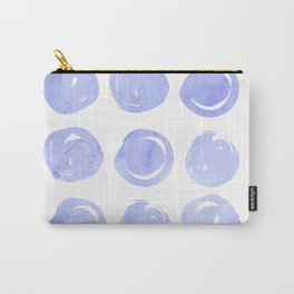 Modern hand painted violet lilac brushstrokes polka dots Carry-All Pouch
