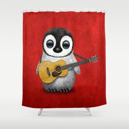 Musical Baby Penguin Playing Acoustic Guitar on Deep Red Shower Curtain