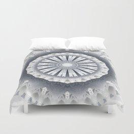 Silver Wedding Inspired Flower Mandala Duvet Cover