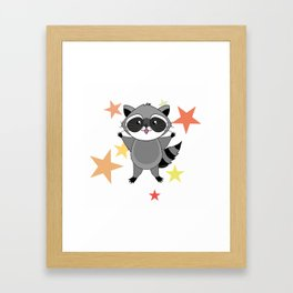 Kawaii raccoon Framed Art Print