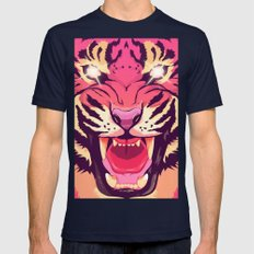 Cool angry tiger Mens Fitted Tee LARGE Navy