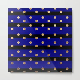 Black and blue stripes polka dot gold pattern Metal Print