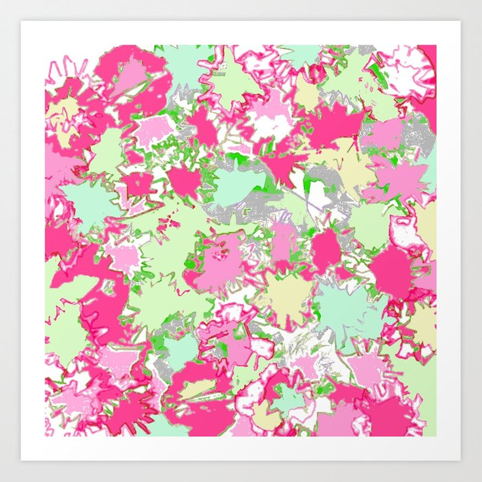 Sketchy Fun Flowers in Shades of Pink, Green and Yellow Kunstdrucke