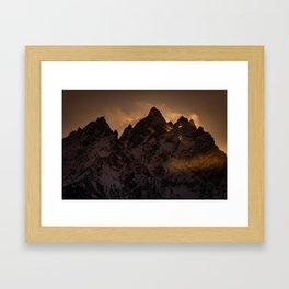 Tetons At Sunset Framed Art Print