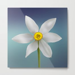 Digital white petals wildflower painting for fine houses decoration. Metal Print