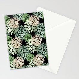 Pretty Faux Foil Green Mum Flower Pattern Stationery Cards