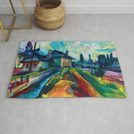 Village in the Countrside, colorful landscape painting by Kmetty János  Rug