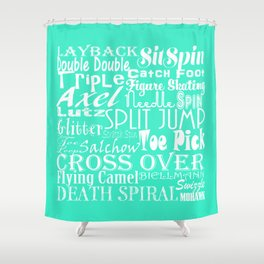 Mint Figure Skating Subway Style Typographic Design Shower Curtain