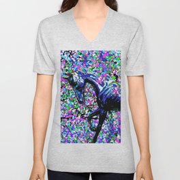 HORSE AND FLOWER PETALS OIL PAINTING Unisex V-Neck