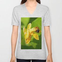 Ladybug climbing on a flower. Summer the beautiful season. Unisex V-Neck