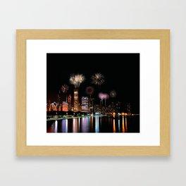 Chicago night skyline with fireworks. Framed Art Print