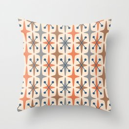 Mid Century Modern Abstract Star Pattern 941 Orange Brown Gray and Blue Throw Pillow