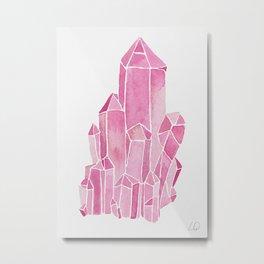 Rose Quartz Watercolor Metal Print