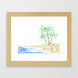 Tropical Island with Palm Trees illustrated with cities of Florida State Framed Art Print