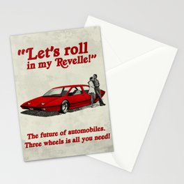 Let's Roll in my Revelle, Retro Future Advertisement of a 70's concept car Stationery Cards