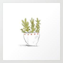 Succulent in Heart Planter Art Print