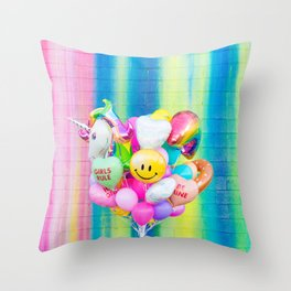 Colorful Balloons on Rainbow Wall Throw Pillow