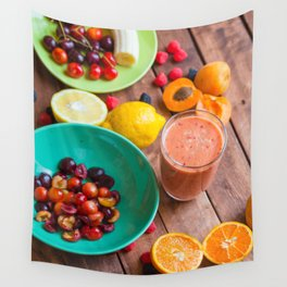 Summer Fruits Smoothie Wall Tapestry
