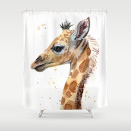 Giraffe Watercolor Cute Baby Animals Shower Curtain